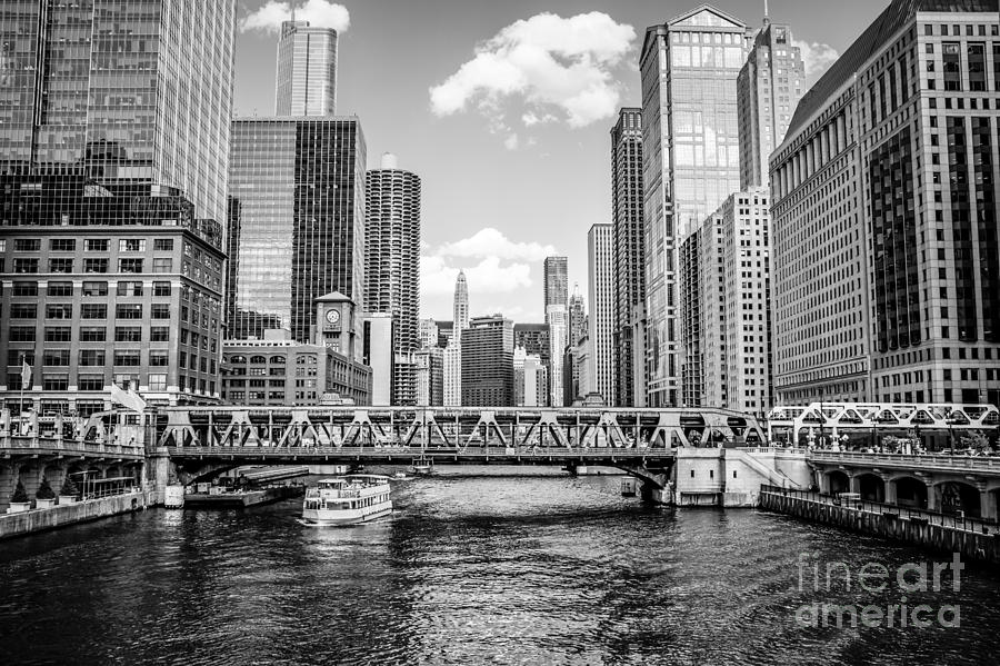 Chicago Wells Street Bridge Black And White Picture Photograph