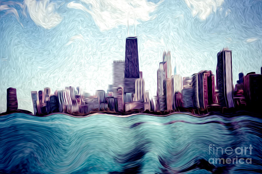 Chicago Windy City Digital Art Painting Photograph  - Chicago Windy City Digital Art Painting Fine Art Print