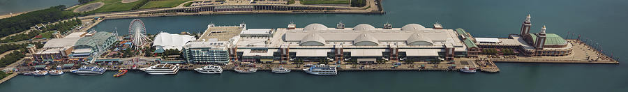 Chicagos Navy Pier Aerial Panoramic Photograph
