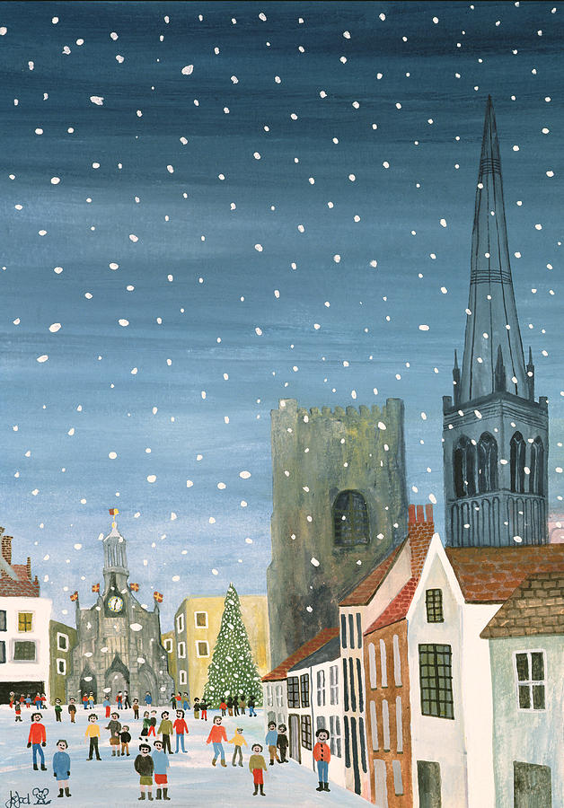 Chichester Cathedral A Snow Scene Painting  - Chichester Cathedral A Snow Scene Fine Art Print