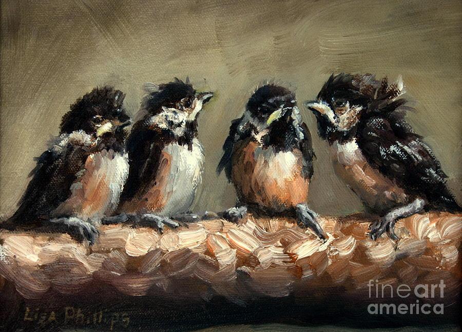 Chickadee Chicks Painting