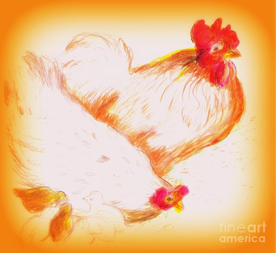 Chickens With Chicks Drawing  - Chickens With Chicks Fine Art Print