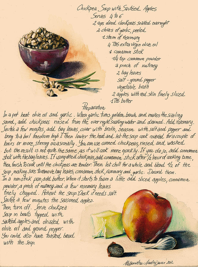 Chickpeas Soup With Apples Painting  - Chickpeas Soup With Apples Fine Art Print