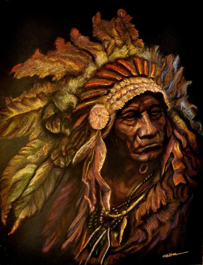 Chief Dark Horse Pastel  - Chief Dark Horse Fine Art Print
