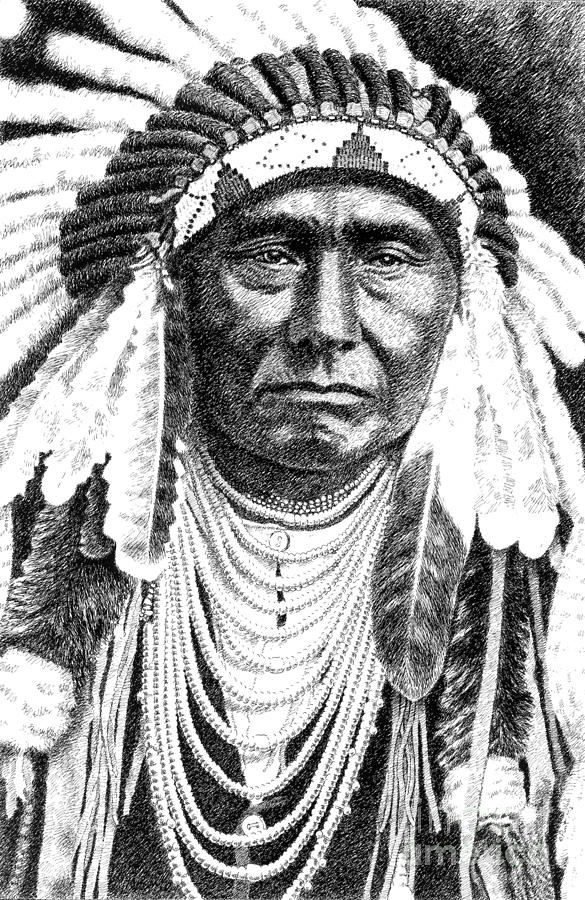 Jim Bridger Drawing - Chief-joseph by Gordon Punt