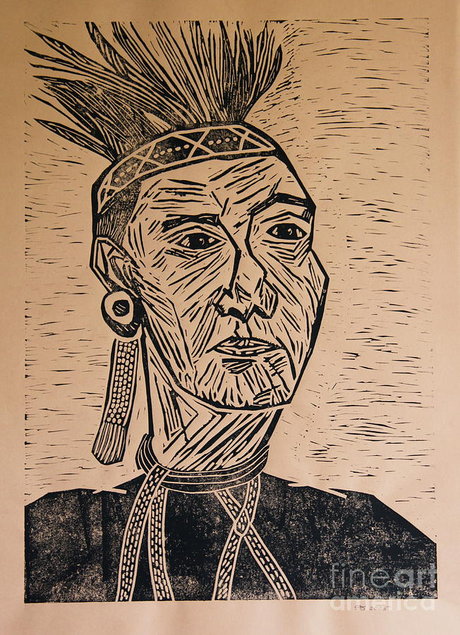 Chieftain - Block Print Mixed Media