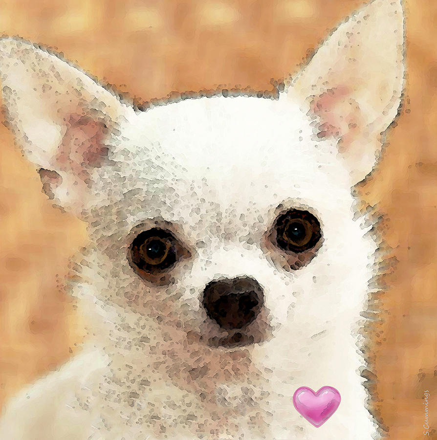 Chihuahua Dog Art - Big Heart Painting