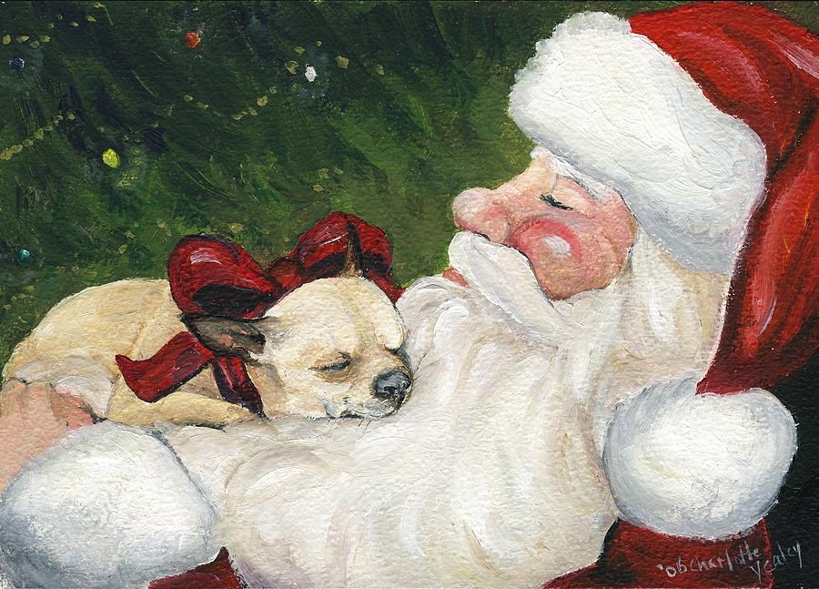 Dog Painting - Chihuahuas Cozy Christmas by Charlotte Yealey