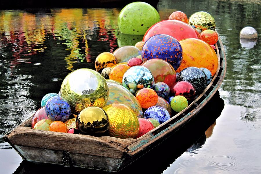 Chihuly Glass Floats In A Boat Photograph  - Chihuly Glass Floats In A Boat Fine Art Print