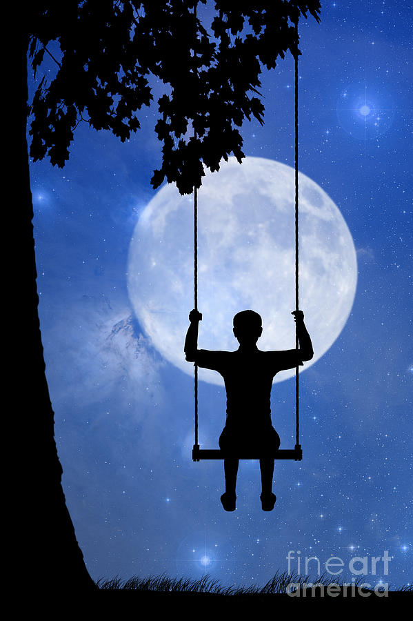 Childhood Dreams 2 The Swing Drawing  - Childhood Dreams 2 The Swing Fine Art Print