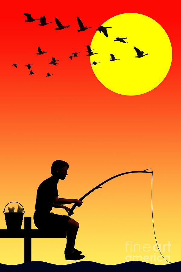 Childhood Dreams 3 Fishing Drawing