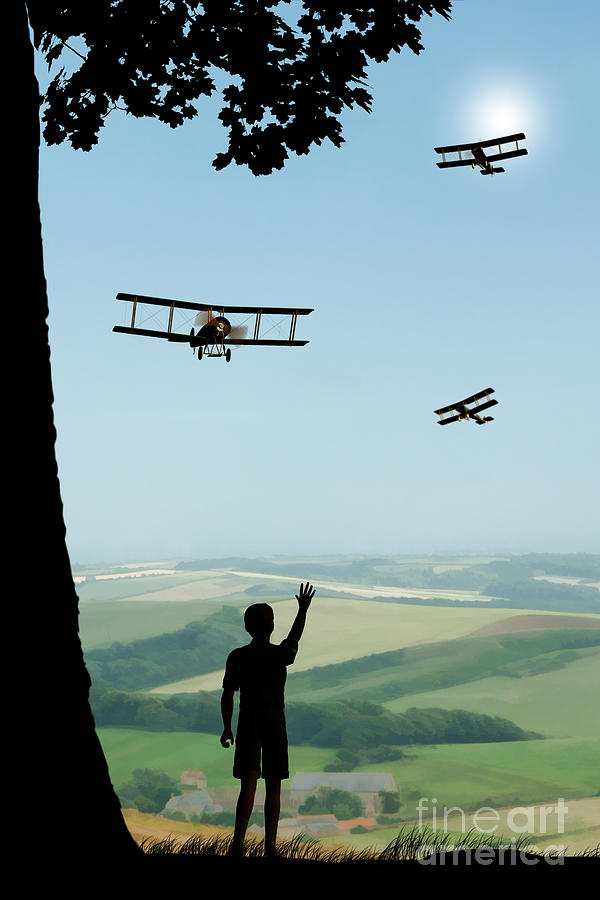 Avro 504k Flypast Painting - Childhood Dreams The Flypast by John Edwards