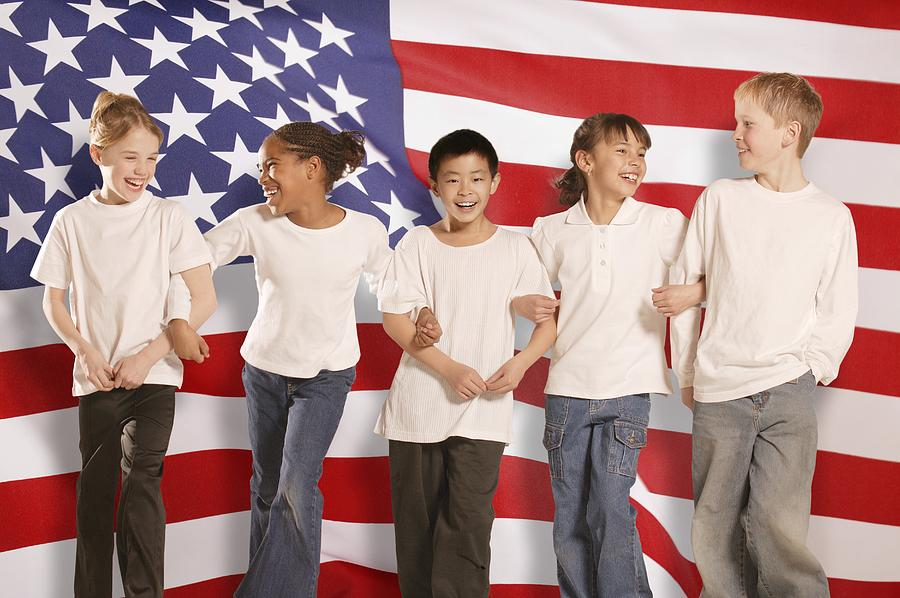 Children In Front Of American Flag Photograph