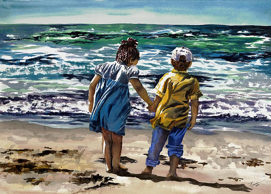 Children On The Beach Painting By Maureen Dean
