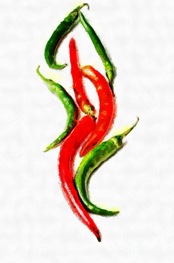 Chili Papers Of Various Shapes Painting Painting  - Chili Papers Of Various Shapes Painting Fine Art Print