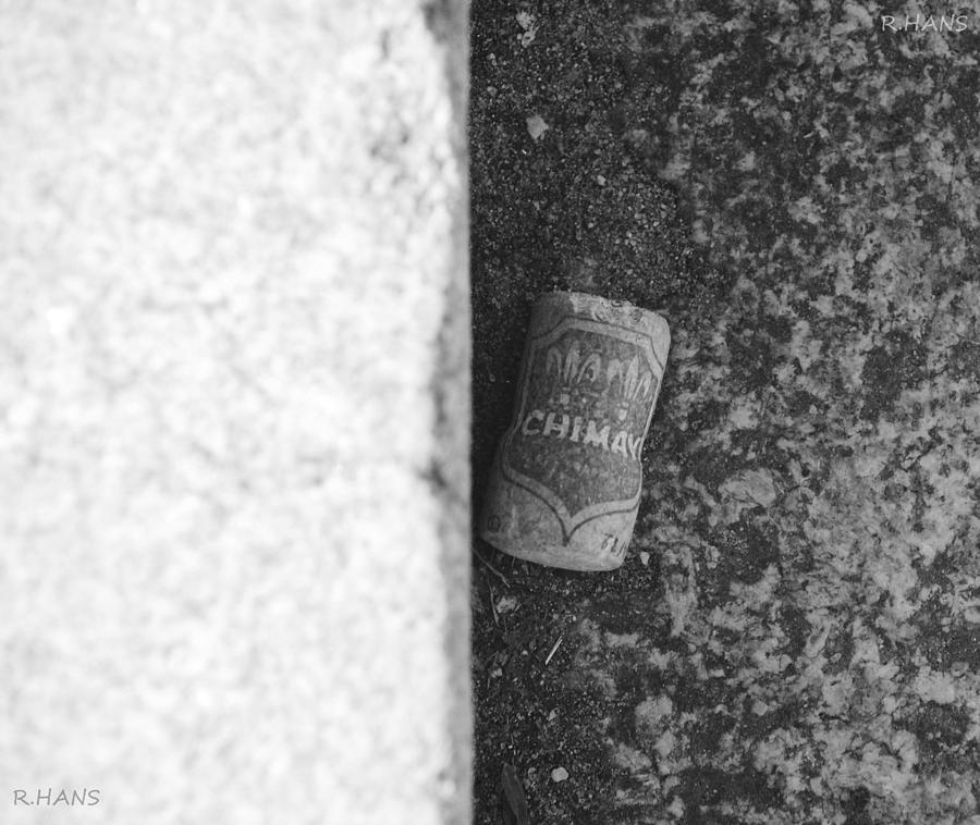Chimay Wine Cork In Black And White Photograph