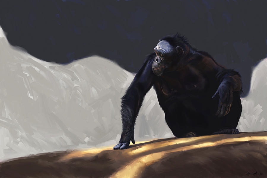 Chimp Digital Art - Chimp Contemplation by Aaron Blaise