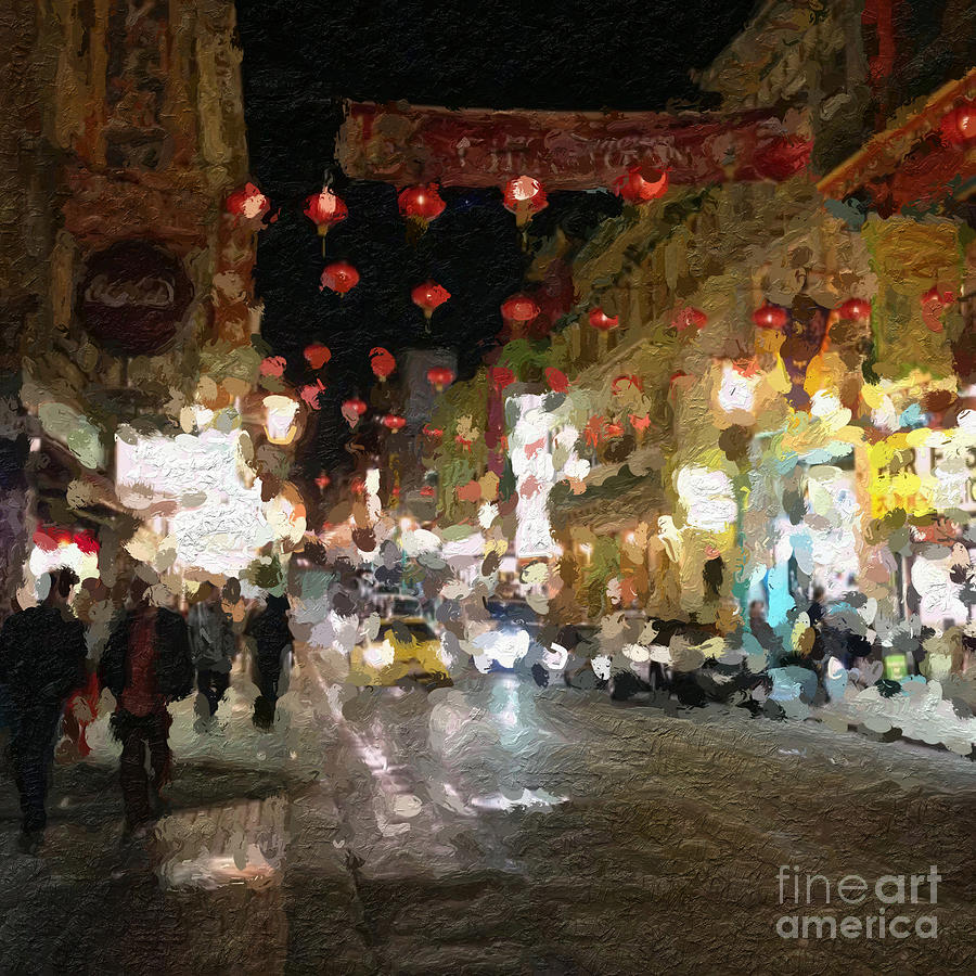 China Town At Night Painting  - China Town At Night Fine Art Print
