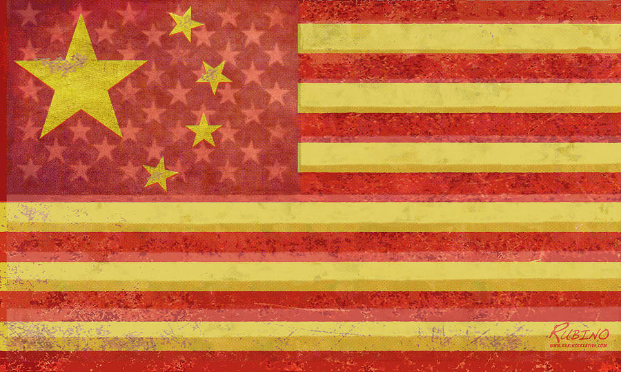 China Flag Painting - Chinese American Flag Blend by Tony Rubino