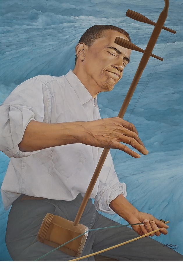Chinese Citicen Barack Obama Is Playing Erhu A Chinese Two Stringed Musical Instrument Painting  - Chinese Citicen Barack Obama Is Playing Erhu A Chinese Two Stringed Musical Instrument Fine Art Print