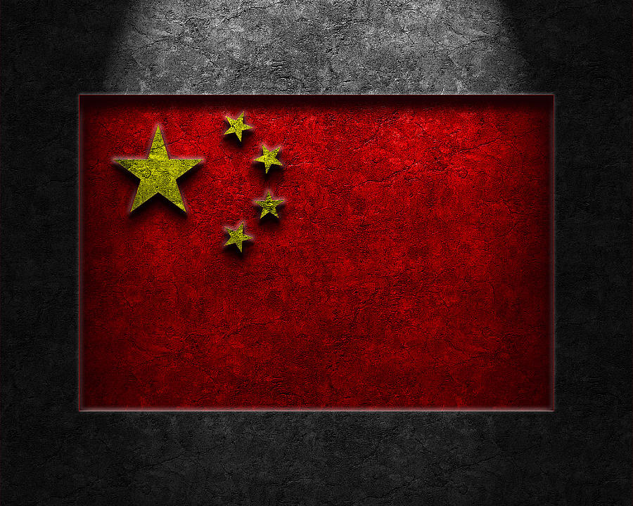 Chinese Flag Stone Texture Digital Art  - Chinese Flag Stone Texture Fine Art Print
