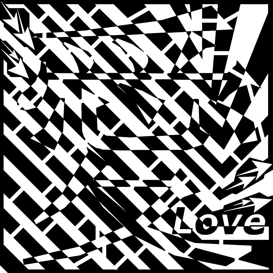 chinese symbol for love maze drawing by yonatan frimer