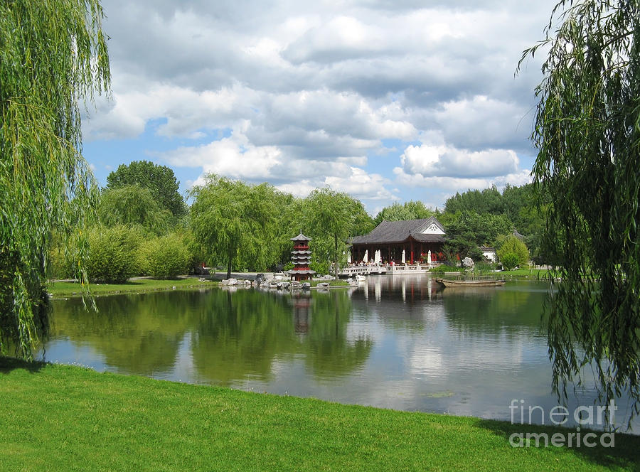 Chinese Tea Pavilion Near The Lake Photograph  - Chinese Tea Pavilion Near The Lake Fine Art Print