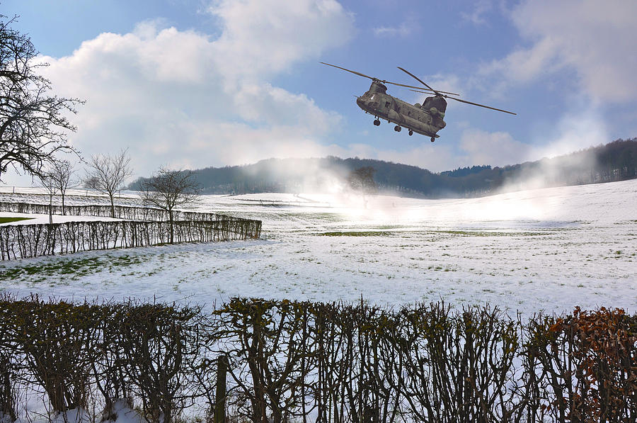 Chinook In Snow Dust Photograph  - Chinook In Snow Dust Fine Art Print