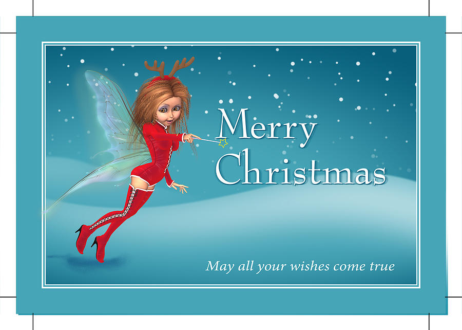 Chirstmas Fairy Digital Art  - Chirstmas Fairy Fine Art Print