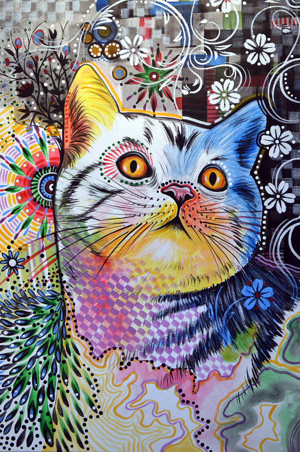 Chloe abstract cat art painting by amy giacomelli for Cat paintings on canvas
