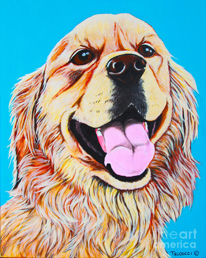 Dog Painting - Chloe by Lina Tricocci