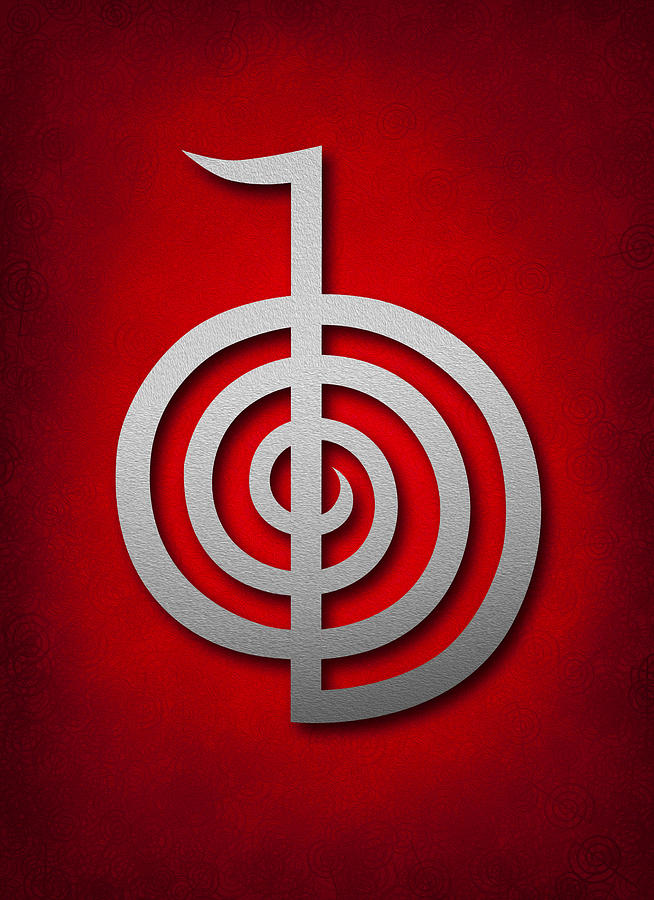 Cho Ku Rei - Silver On Red Reiki Usui Symbol Digital Art