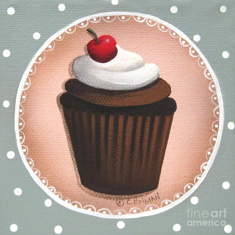 Chocolate Cherry Chip Cupcake Painting  - Chocolate Cherry Chip Cupcake Fine Art Print