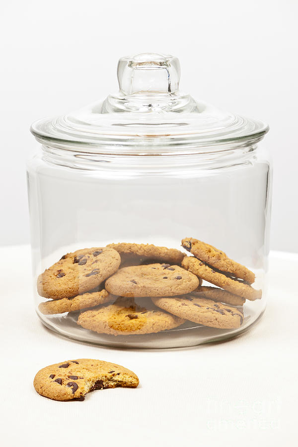 Chocolate Chip Cookies In Jar Photograph