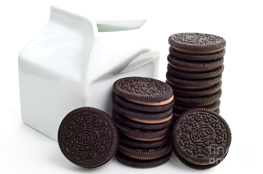 Chocolate Cream Oreos And Milk Photograph