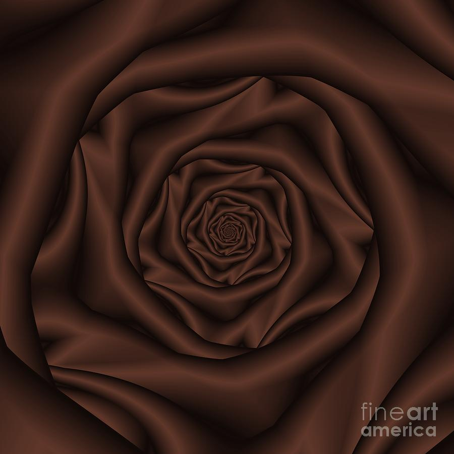 Chocolate Rose Spiral Digital Art  - Chocolate Rose Spiral Fine Art Print