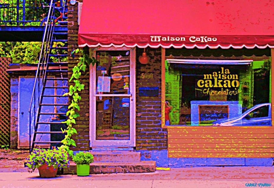 Painting - Chocolate Shop La Maison  Cakao Chocolaterie Boulangerie Patisserie Rue Fabre Montreal  Cafe Scene  by Carole Spandau