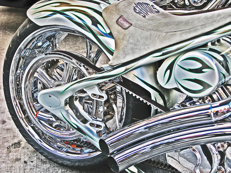Chopper Belt Drive Detail Photograph  - Chopper Belt Drive Detail Fine Art Print