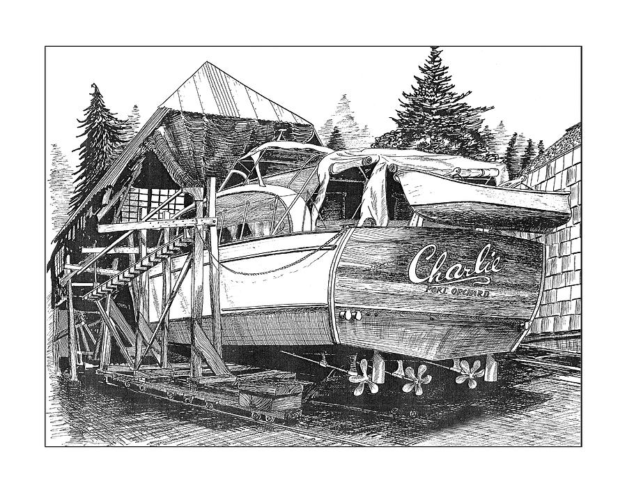 Chris Craft Annual Haul Out Drawing  - Chris Craft Annual Haul Out Fine Art Print
