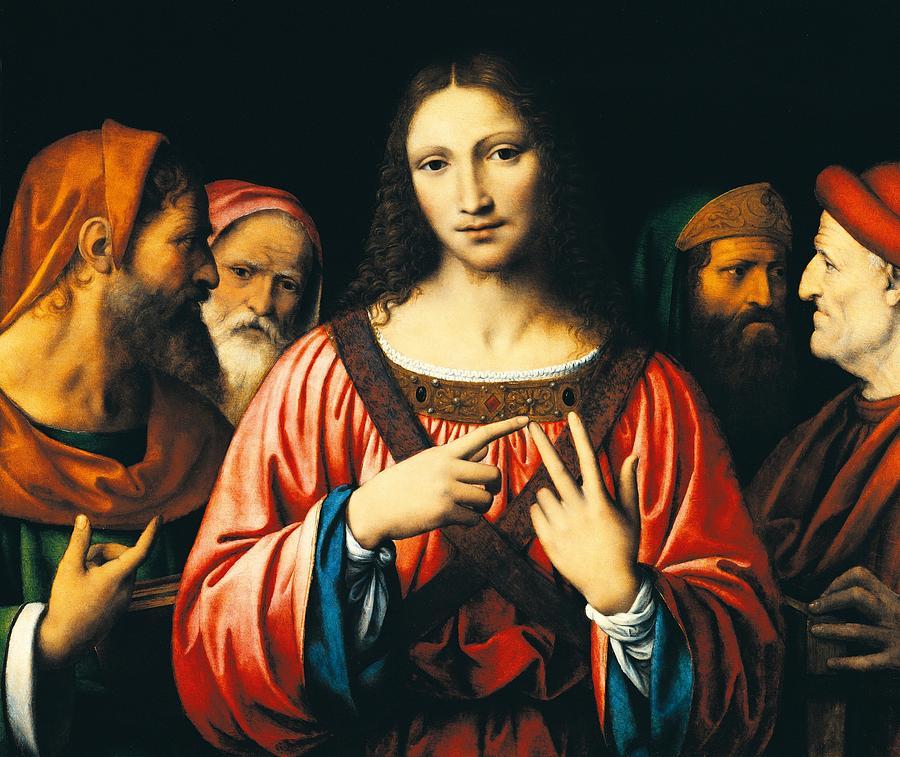 Jesus Christ; Doctors; Elders; Male; Men; Man; Renaissance; Disputation; Discussion; Debate; Group; Youth; Religion; Christianity Painting - Christ Among The Doctors by Bernardino Luini