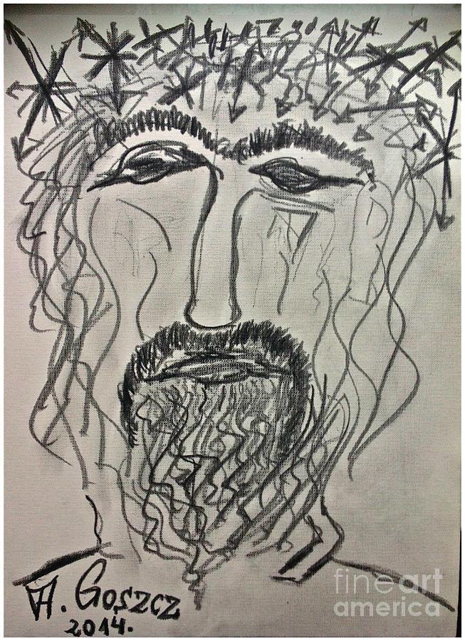 Christ In Distress. Pensive Christ. Chrystus Frasobliwy. By Andrzej Goszcz. Drawing