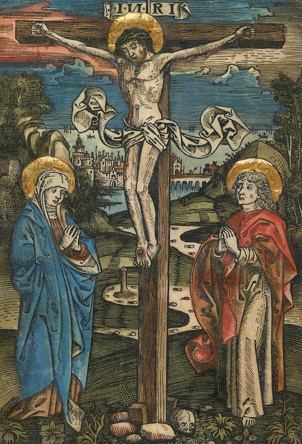 Christ On The Cross With Mary And Saint John Painting  - Christ On The Cross With Mary And Saint John Fine Art Print