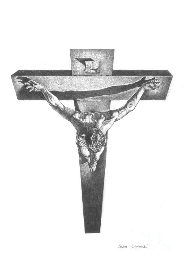 Christ On The Cross Drawing by Yana Wolanski
