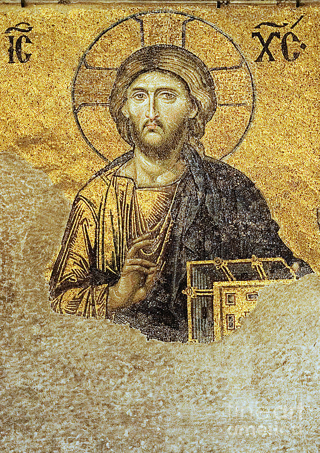 Christian Mosaic Photograph - Christ Pantocrator-detail Of Deesis Mosaic Hagia Sophia-judgement Day by Urft Valley Art