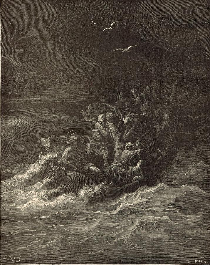 Biblical Drawing - Christ Stilling The Tempest by Antique Engravings
