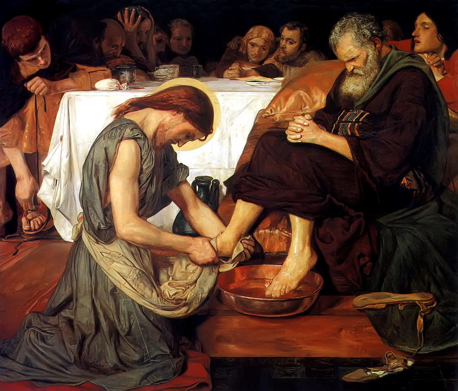 Christ Washing Peters Feet Painting  - Christ Washing Peters Feet Fine Art Print