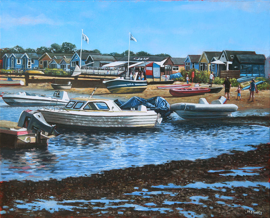 Christchurch Hengistbury Head Beach With Boats Painting  - Christchurch Hengistbury Head Beach With Boats Fine Art Print
