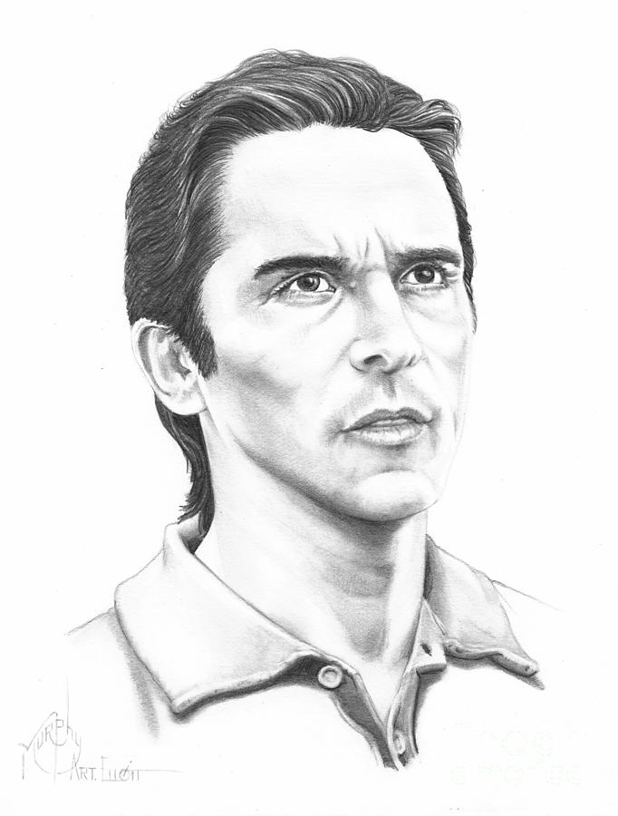 Pencil Drawing - Christian Bale by Murphy Elliott