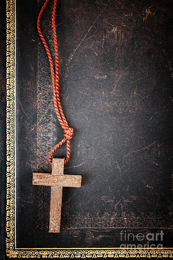 Christian Cross On Bible Photograph  - Christian Cross On Bible Fine Art Print