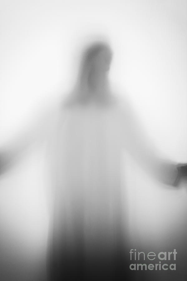 Silhouette; Jesus; Christ; Jesus Christ; Cross; Person; Faceless; Shadow; White; Prayer; Religious; Religion; Angelic; Horror; Mysterious; Christian; Faith; Icon; God; Saint; Arms Outstretched; Robe; Suspense; Prayer; Backlit; Creepy; Opaque Photograph - Christian by Margie Hurwich